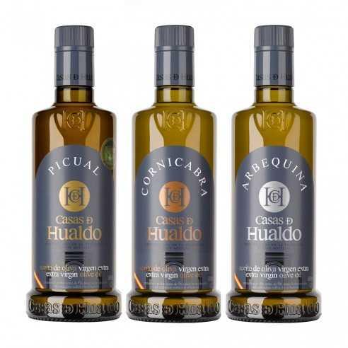 Set de aceite de oliva Casas de Hualdo - Cornicabra 500ml- Picual 500ml- Arbequina 500ml