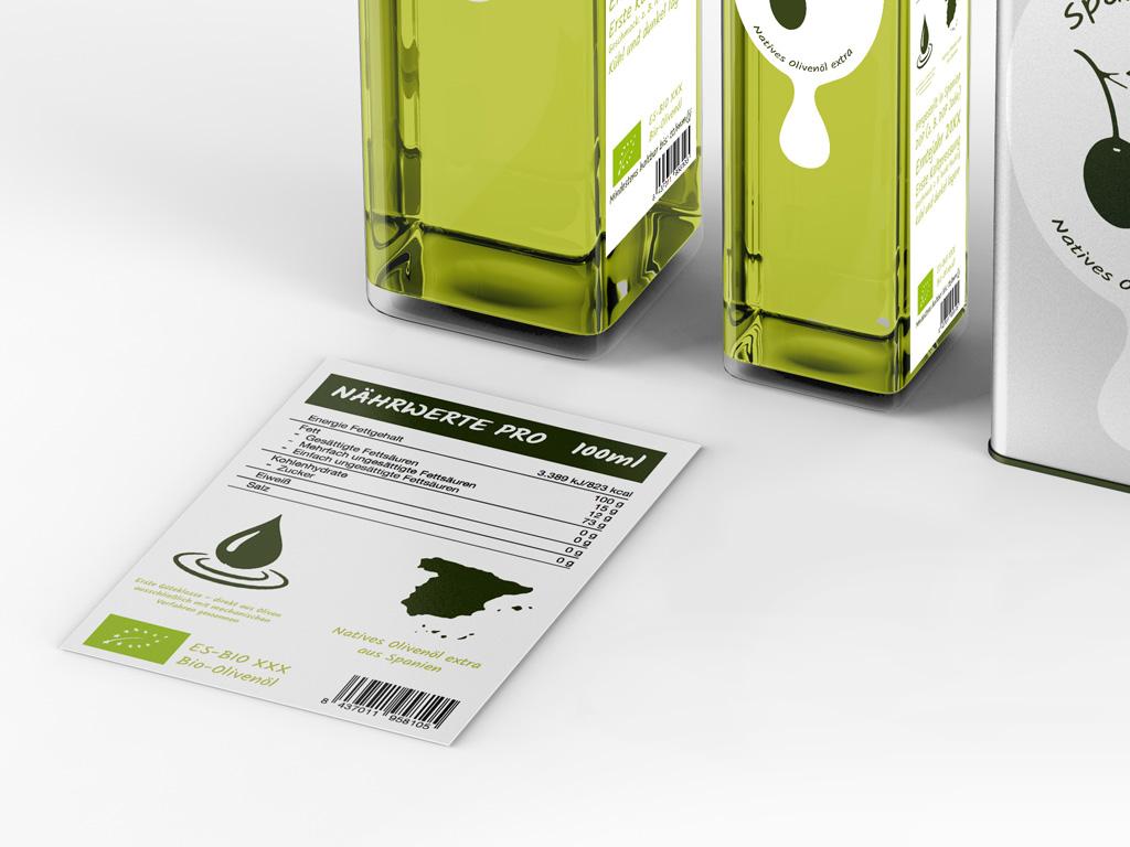 Olivenöl Etikett Angaben